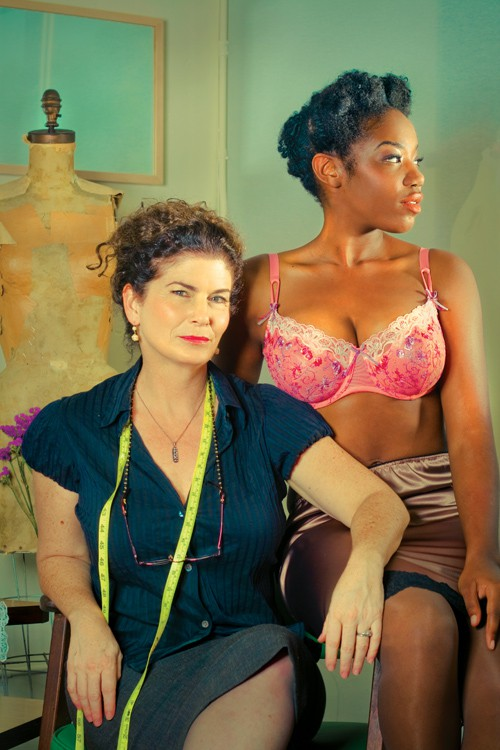 Jenette Goldstein and model with her wondrous bra.