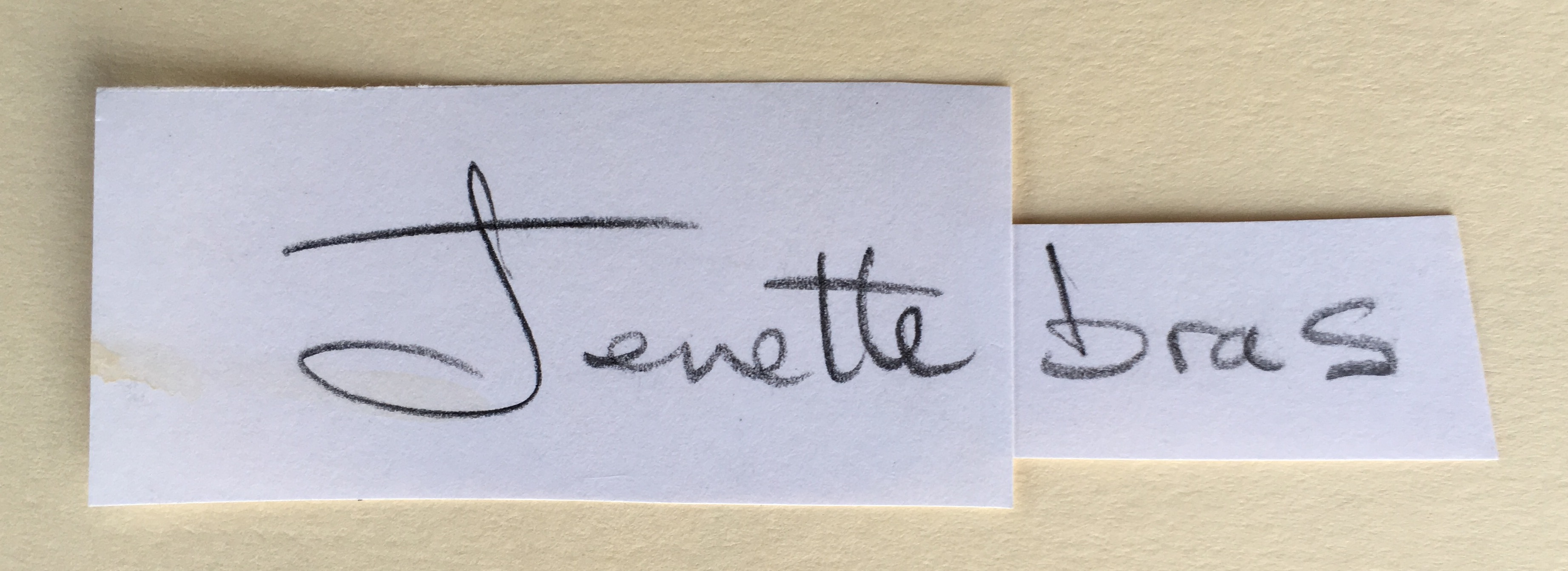 The Jenette Bras logo is based on Jenette's handwriting.